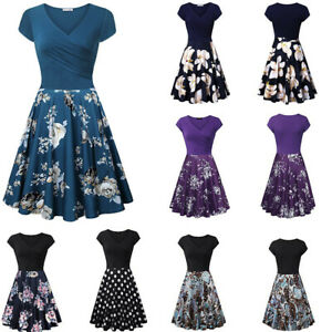 Women-Casual-Cozy-Short-Sleeve-Cross-V-Neck-Vintage-Elegant-Flared-A-Line-Dress