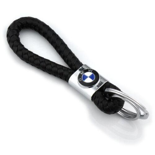 Braided Leather Black Cord Key Chains Car Logo Holder Silver Key Ring