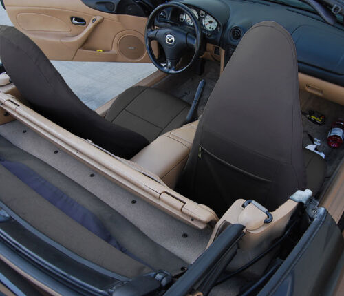 MAZDA MIATA 2001-2005 BLACK//RED S.LEATHER CUSTOM MADE FIT FRONT SEAT COVER