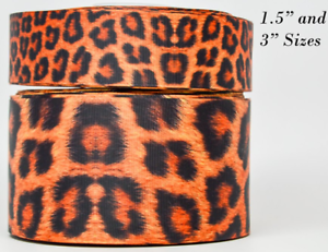 "Cheetah Print 1.5"" Wide Grograin Ribbon 3 Yds"