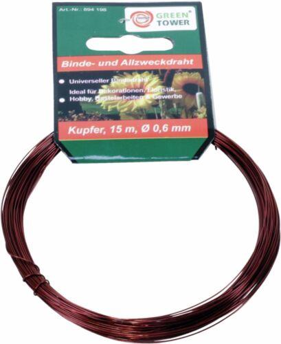 longitud 15 m basteldraht cobre Canutillos encuadernar allzweckdraht Ø 0,6 mm