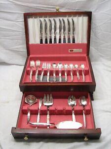 Vintage Set 1847 Rogers Flair Silverplate Bestecke 54 teilig Service für 8 mit Box
