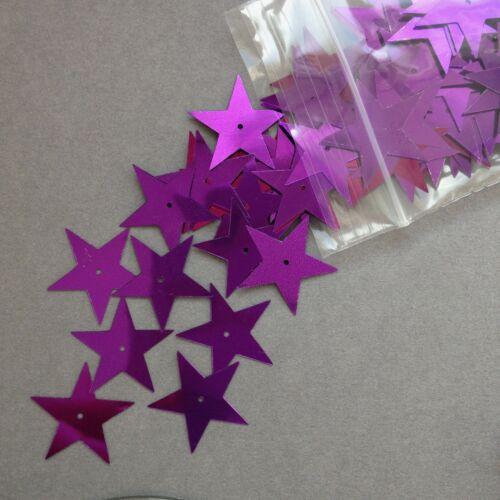 100 X 22mm Estrellas De Lentejuelas-Plata púrpura oro Irisado Blanco mezcla.