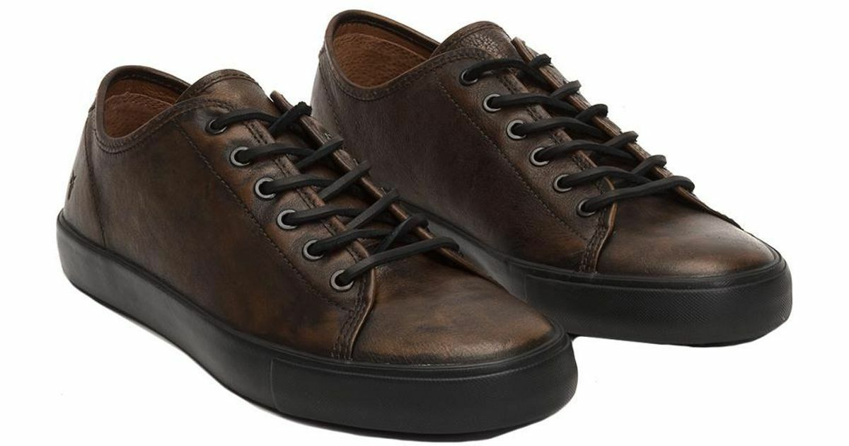 200 NIB NEW Men's Frye Brett Low Leather Sneaker shoes Cognac