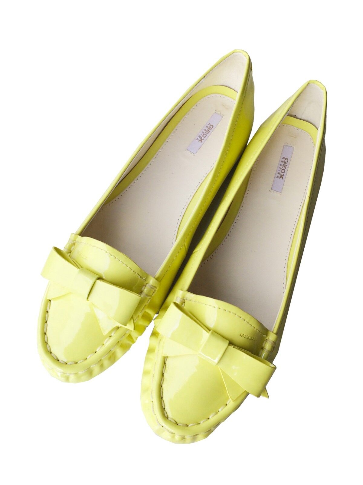 GEOX YELLOW woman flats LOAFERS real patent leather, EU 39.5, NEW, never worn