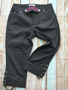 Sheego-Jeans-Pants-Black-Costume-Trousers-3-4-Lacing-at-Leg-Size-40-to-52-221