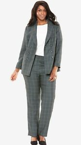 JESSICA-LONDON-Double-Breasted-Plaid-Pantsuit-Size-14-XL-1X-NEW-130
