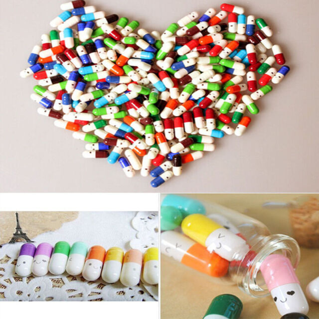 50X Message in a Bottle Capsule Love Letter Cute Cartoon Half Color Pills Drug W