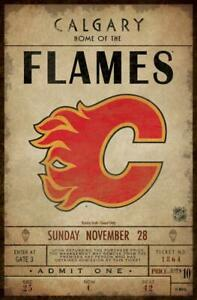 Calgary Flames Classic Ticket Canvas Framed Print (New) Calgary Alberta Preview