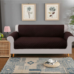 Details About Brown Sofa Cover Reversible 3 Seat Slipcover Waterproof Couch Us