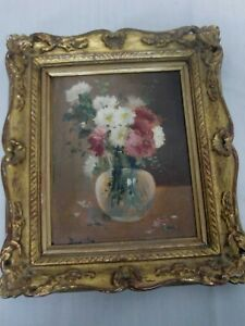ANTIQUE-SIGNED-OIL-ON-BOARD-FRENCH-SCHOOL-PAINTING-STILL-LIFE-FLOWERS-IN-VASE