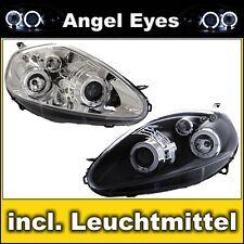 Angel Eyes DE Scheinwerfer Fiat Grande Punto 2005-2009 Chrom Schwarz Schwarze
