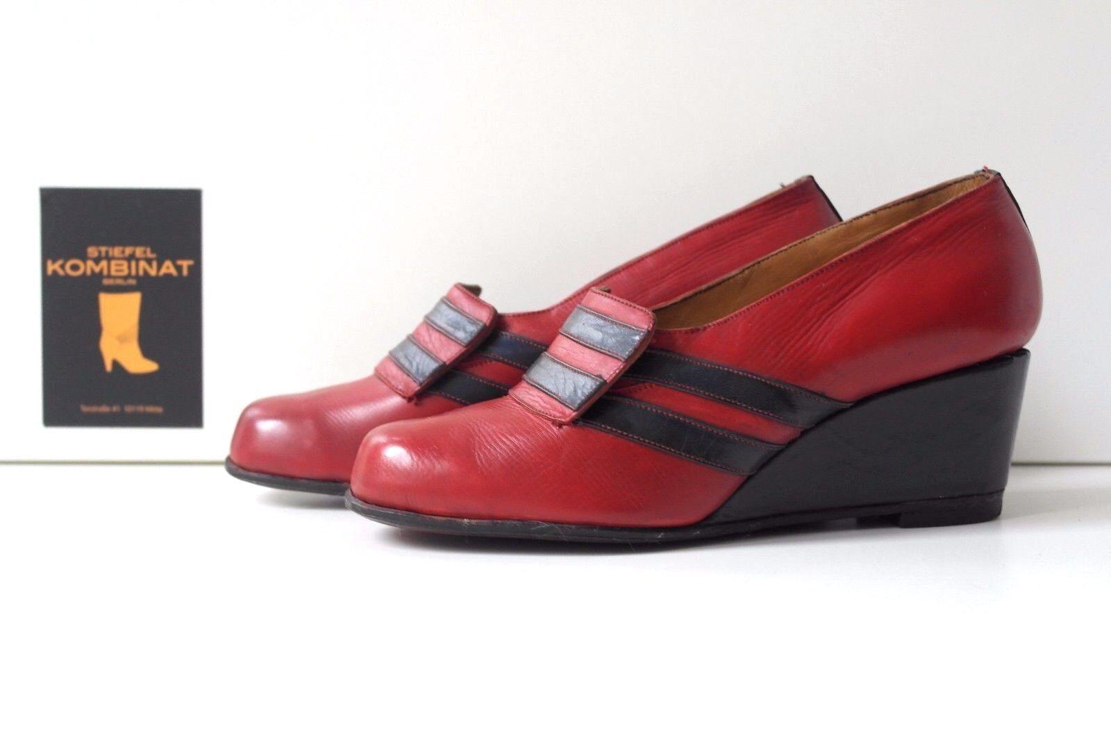 risparmia il 50% -75% di sconto Antico DA DONNA PUMPS ZEPPA Zeppa Scarpe True Vintage Vintage Vintage Scarpe basse rosso blu  comodamente
