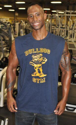 Gold NEW Bulldog Gym Sleeveless Shut Up /& Train Muscle Shirt Sz M L XL Navy