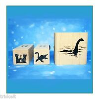 Nessie Silhouettes Rubber Stamp Set Of 3 Scottish Loch Ness Monster & Castle