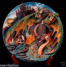 Midori Mint Wizard Fighting 3 Dragons Limited Edition Collectors 3D Sculpt Plate