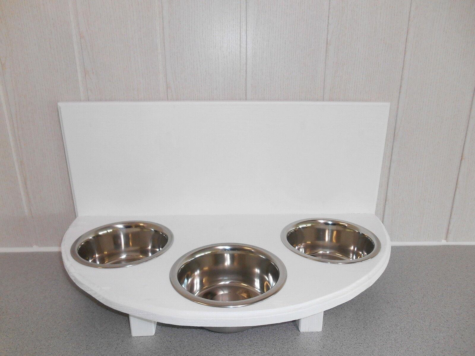 Katzennapf 3 Näpfe, weiß, halbrund, Futterstation, Napfhalter (389)   Haltbarkeit