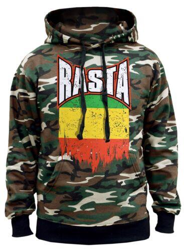 New Men/'s Proud Rasta Flag Camo Hoodie Sweater Jamaican Weed Blunt High Jamaica