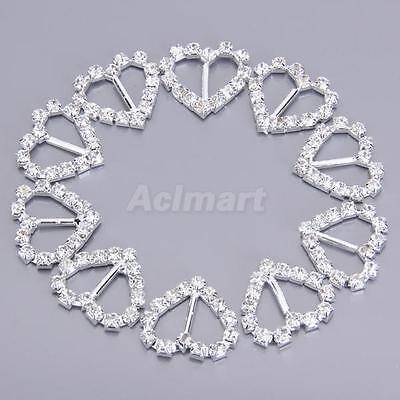 10 Heart Crystal Rhinestone Silver Wedding Invitation 8mm Ribbon Buckle Sliders