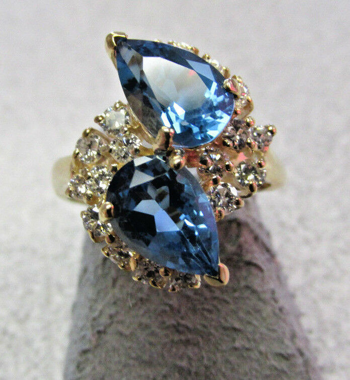 High Quality   blueee Topaz & Diamond Ring 14k gold size 5-1 2  Make Offer