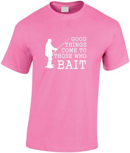 Bonnes choses viennent à ceux qui appât enfants t shirt kid/'s fishing tee youth