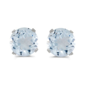 14k-White-Gold-5-mm-Natural-Round-Aquamarine-Stud-Earrings