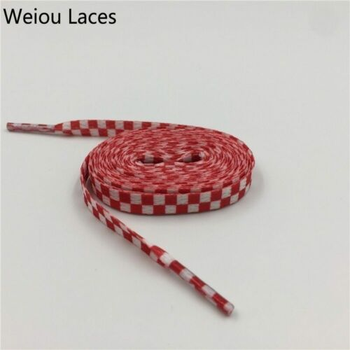 Checkered Shoelaces Flat Grid Shoe Lace Polyester Ribbons Sneaker 60-180 cm New