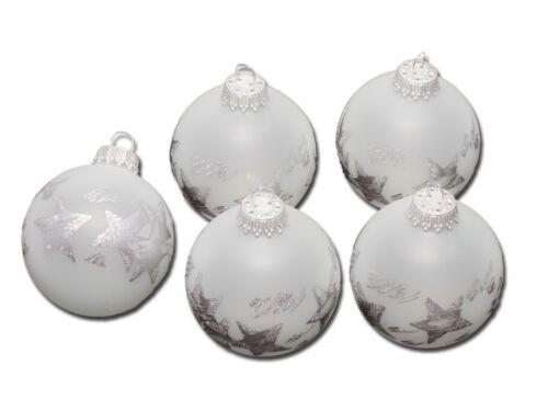 Krebs /& Sohn 6390//5 Weihnachtskugeln Glas Frost Ice Silber Sterne 5 Stück Ø5cm