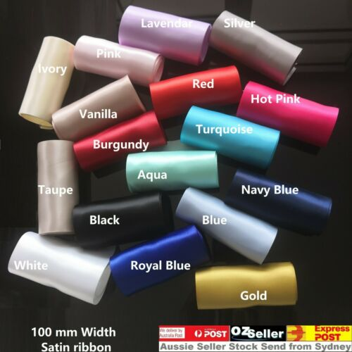 "10cm4""100mm Double Face Satin wide Ribbon SASHES Red Gold Hot pink Navy blue"
