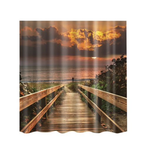 Water Resistant Shower Curtain Bathroom Polyester Panel Sea Sunrise New