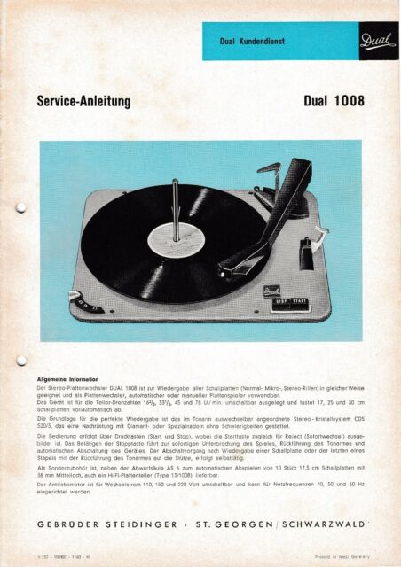 Service Manual-anleitung Für Dual 1008 A Tv, Video & Audio