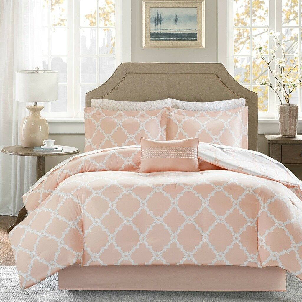 New Deluxe Blaush Ivory Fretwork Comforter Comforter Comforter Cotton Sheets 9 pcs Cal King Queen Set 7a9bc9