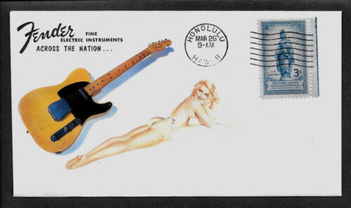 1952 Fender Telecaster /& Pin Up Girl ad Featured on Collector/'s Envelope *A188