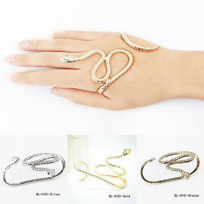 Punk Snake Crystal Hand Palm Bracelet Bangle Cuff Ring Jewelry Fancy Fashion