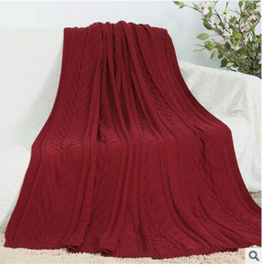 180x230CM Heavy Duty Fish Bone Pattern Large Crochet Knitted Blanket rot Solid