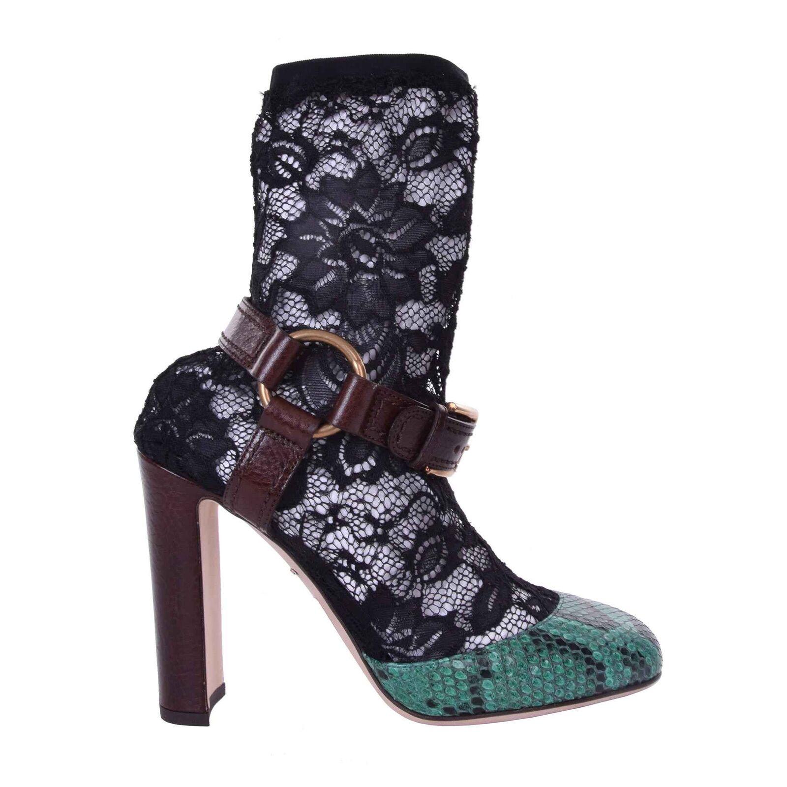 DOLCE & GBBBBNB Pumps Schuhe VBLLY aus Spitze Schlangenleder Schwarz Grün 06171