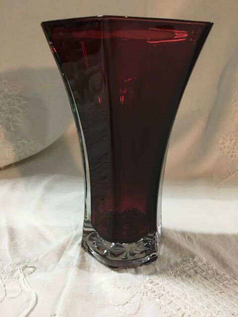Vintage Hoosier Ruby Red 10 Cased Glass Vase 4041 Ebay