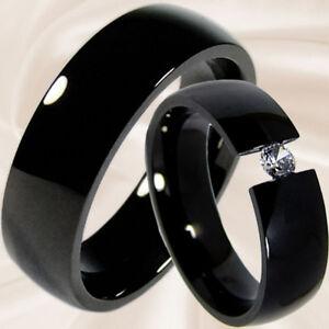 schwarze Trauringe Hochzeitsringe Verlobungsringe Partnerringe 6mm mit Gravur