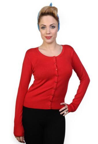 Women/'s Red Getaway Plain Vintage Retro Rockabilly Cardigan By Banned Apparel