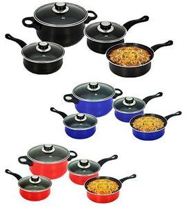 COOKWARE-SET-STEEL-PAN-POT-CARBON-7PC-NON-STICK-SAUCEPAN-GLASS-LID-KITCHEN-FRY