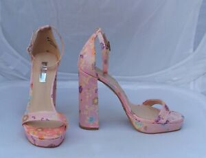 4ab32083514 Details about Primark Pale Pink Satin Effect Floral Sandals with Ankle  Strap Size 4/37