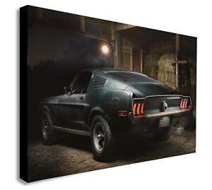 Steve McQueen ORIGINAL 1968 Mustang Bullitt Toile Encadré Wall Art Divers Tailles  </span>