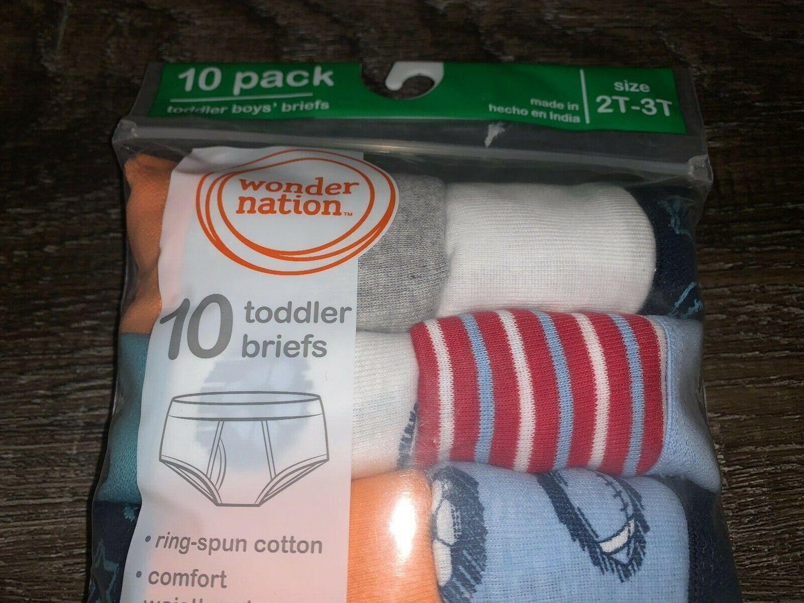 Wonder Nation Toddler Boys Briefs 6 Pack 2T-3T 100/%Cotton..NEW!!!