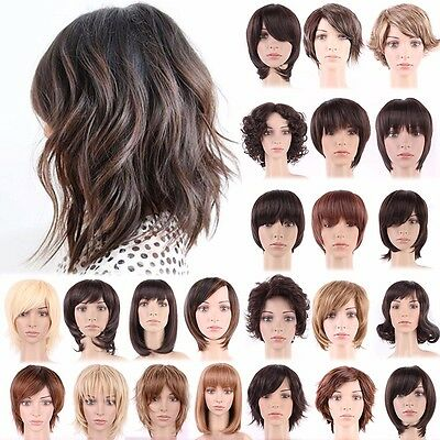 2019 Fashion Short Hairstyles Natural Curly Straight Wavy Full Hair Wigs Ombre Ebay