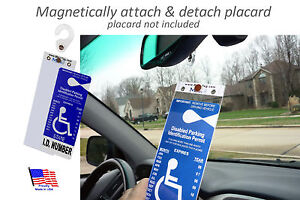 Mirortag-Gold-Sturdy-Handicap-Parking-Tag-Holder-amp-Protector-Easy-On-amp-Off