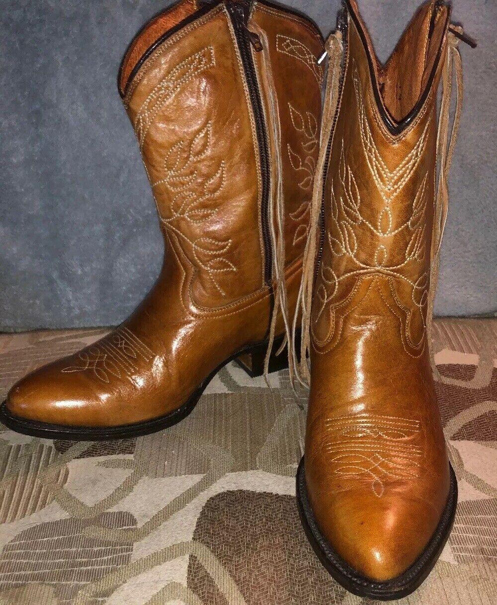 Coq Noir  Akers Femme Marron Western Cowboy bottes avec franges  Taille 8 M  Nice