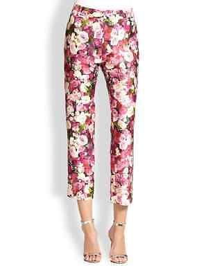 NWT kate spade new york rose print jackie capri pant silk blend  Sz 4 $398
