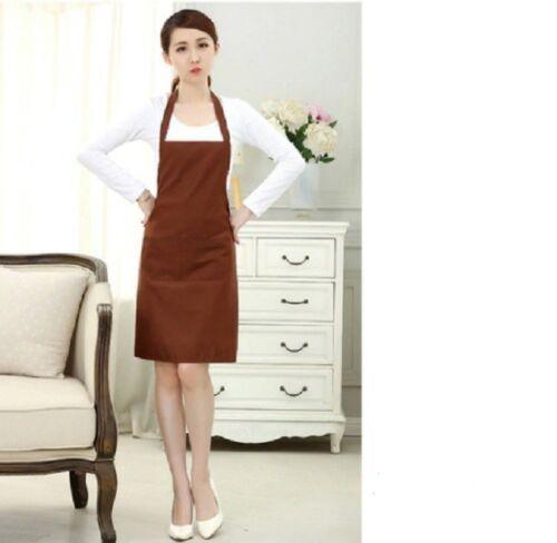 Women bib plain cooking chef Polyester kitchen Restaurant apron with pockets