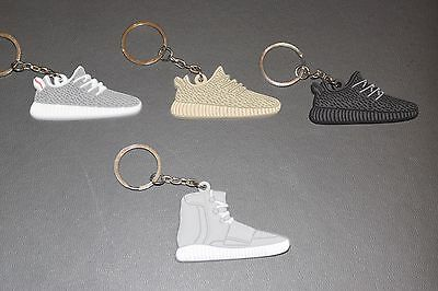 SET OF 2 KANYE WEST 750 BOOST BLACK GREY 2D SHOE KEYCHAINS NEW