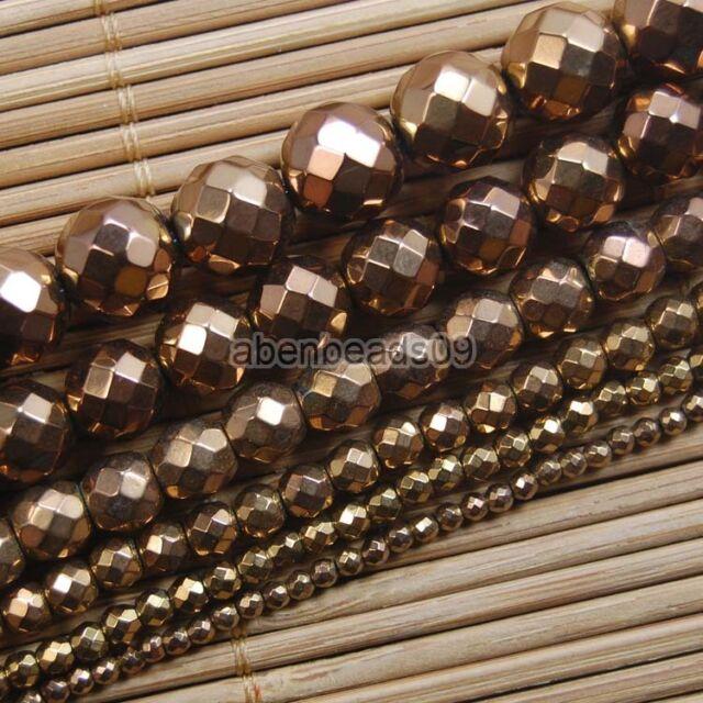 "Hematite Gemstone Faceted Round Ball Beads 15"" Metallic Color 2 3 4 6 8 10mm"